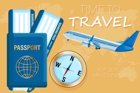 Biglietti di viaggio e passaporto Stile piatto vettoriale. Concetti di documenti turistici Vettoriali