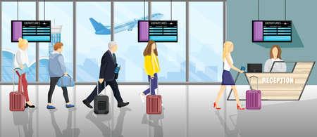 Les gens à l'aéroport Style plat de vecteur. Touristes avec les bagages faisant l'enregistrement. Bureaux de réservation de vol de réception