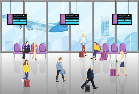People in the airport Vector flat style. Tourist walking or sitting in the chairs. Time table screens on backgrounds
