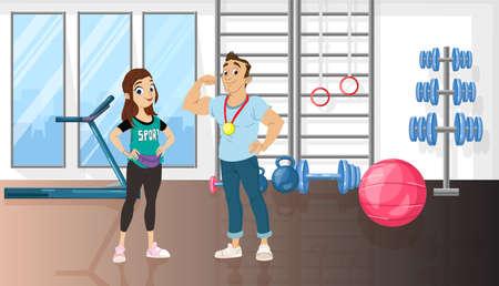 Hombre y mujer en un gimnasio de deporte Personajes de dibujos animados de vector. Conceptos de entrenador de formadores de estilo de vida saludable
