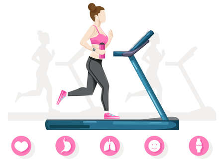 Woman running on a treadmill Vector flat style. Cardio healthy lifestyle templates