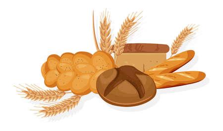 Piekarnia wektor. Chleb, bułka, rogalik Szczegółowa ilustracja z przodu