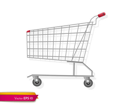 Empty shopping cart template Vector flat style. Product icon sale concepts
