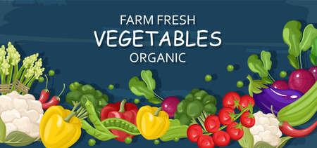 Farm fresh vegetables Vector banner. Store shop grocery detailed illustrations posters Vetores