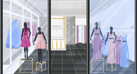 Fashion boutique with dresses Vector illustration. Shop store front views