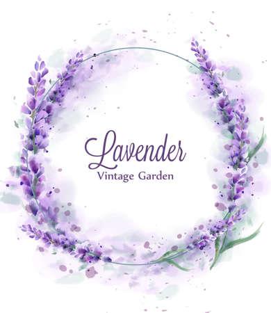 Lavender wreath Vector watercolor splash. Delicate floral bouquet frame. Spring summer banner templates