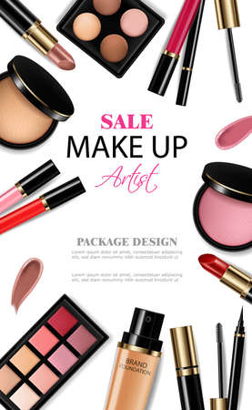 Cosmetics set Vector realistic. Eye shadow, lip gloss and powder blush collection. Product placement. 3d illustration