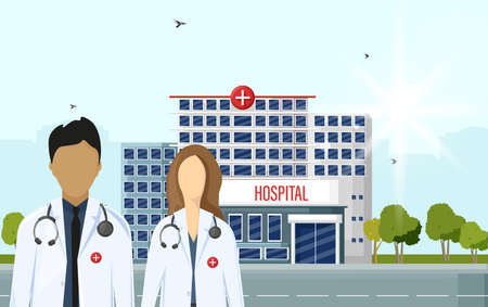 Doctors at the hospital Vector flat style. Medical center concept. Practitioner young doctors man and woman, hospital building. Medical staff illustration