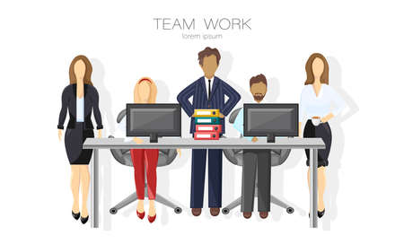 Team working Vector flat style. Brain storming group. Coworking spaces Illustration