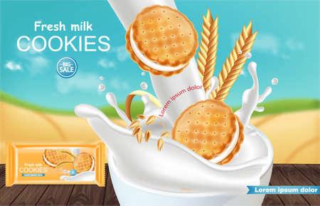 Vanilla cream cookies Vector realistic. Product placement mock up. Sweet dessert cream splash design. 3d illustrations Ilustração Vetorial