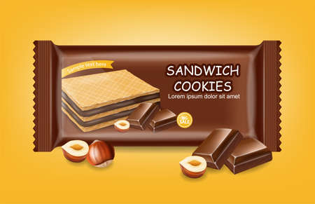 Chocolate waffles cookies Vector realistic. Product placement mock up. Sweet dessert label design. 3d illustrations