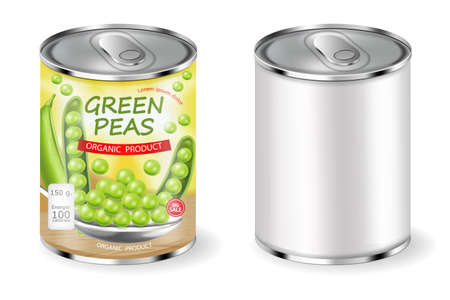 Green peas can Vector realistic. Product placement. Label design package. 3d illustrations