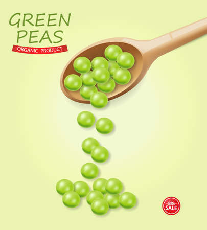 Green peas falling Vector realistic. Wooden soon. 3d illustrations