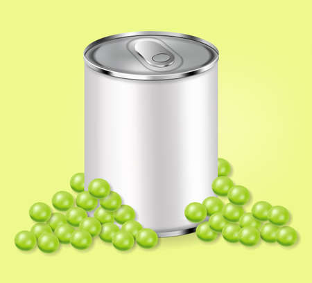 Green peas can Vector realistic. Product placement. Aluminium can 3d illustrations