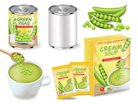 Green peas soup and can Vector realistic. Product placement. Label design package set collections Ilustrace