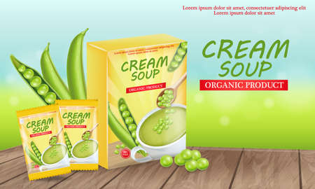 Green peas soup Vector realistic. Product placement mock up. Label design package. 3d illustrations Ilustração