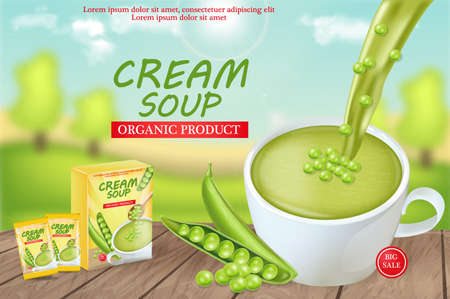 Green peas soup Vector realistic. Product placement mock up. Label design package. 3d illustrations Ilustrace