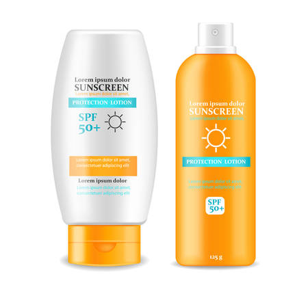 Sunscreen cream Vector realistic. Solar Protection uv and high spf. Product placement mock up. Label design 3d illustrations