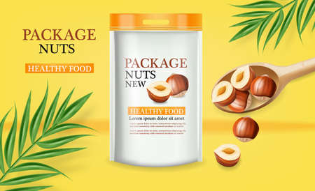 Nuts package vector realistic mock up. Label design. Product placement. 3d illustrations