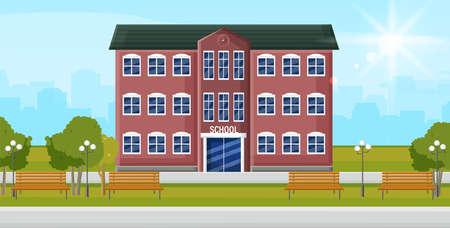 School entrance Vector. Education facade building. Poster template back to school concept flat style