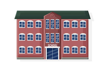 School facade building isolated flat style vector Ilustrace