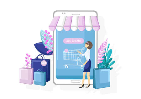 Shopping online app sale promotion vector flat style. Advertise banners or brochure poster with smartphone. Woman shopping ads. Trendy colors