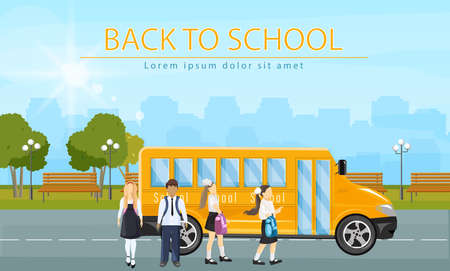 Back to school bus Vector. Kids running to enter the school bus flat style illustrations