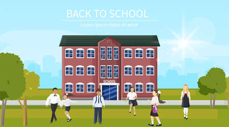 Back to school kids running the entrance Vector. Playing happy children flat styles outdoors