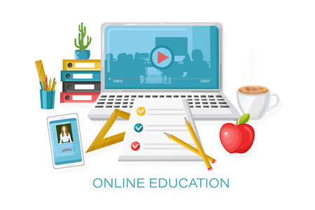 Online courses education Vector. Learning process. notebook and school supplies illustrations Ilustrace