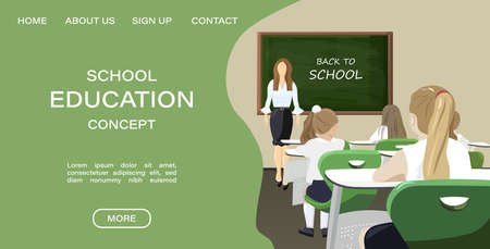 Online courses page template Vector. Education promotion sale advertises