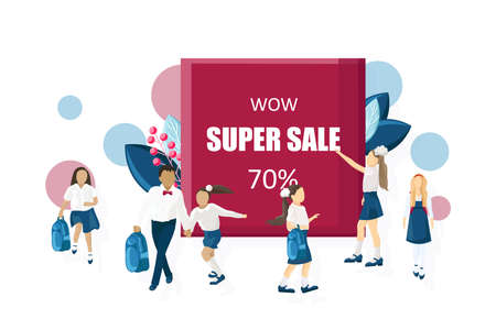 School sale poster Vector flat style. Kids back to school moments banners