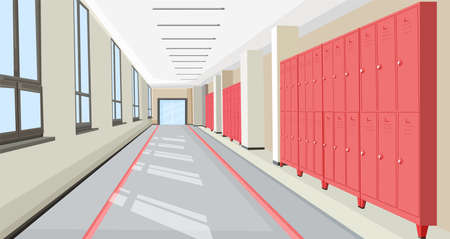 School hall with school lockers Vector interior flat style illustrations