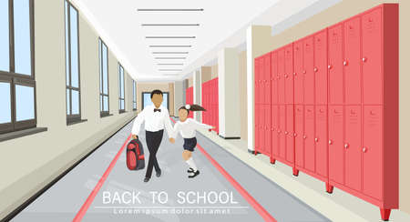 Kids running in the school hall Vector flat style. Back to school concepts