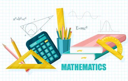 Mathematics School set supplies collection Vector flat styles