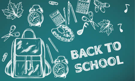 Back to school Vector banner. Sale school supplies promotion advertise poster. Chalk outline drawing textures Vectores