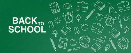 Back to school Vector. Green board banner. School supplies promotion templates 向量圖像