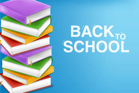 Books stack vector realistic. Colorful books illustration. Back to school study concept
