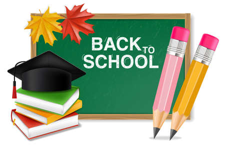 Back to school board Vector realistic. Crayons, ruler, notes detailed 3d illustrations