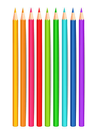 Colorful crayons Vector realistic isolated on white Ilustracja