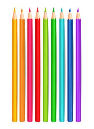 Kleurrijke kleurpotloden Vector realistisch geïsoleerd op wit