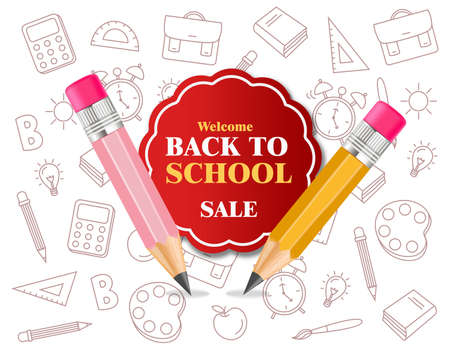 Back to school crayons supplies Vector realistic. sale promotion banner.