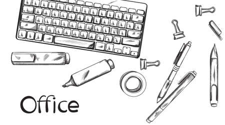 Office desk Vector banner line art. Keyboard and pens silhouettes. Standard-Bild - 128816558