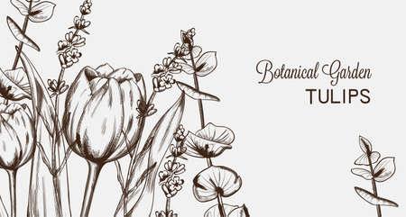 Summer tulip flowers line art Vector. Hand drawn decor texture vintage style