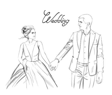 Wedding couple Vector line art. Lovely couple holding hands. Bride and groom silhouette vintage style. Beautiful long dress . Template for design card Stock Illustratie