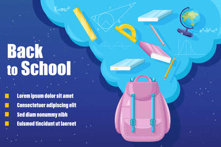 Back to school backpack Vector. Sale promotion advertise banner