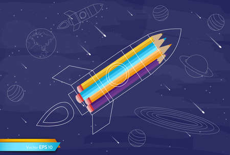 Rocket colorful crayons Vector flat style.