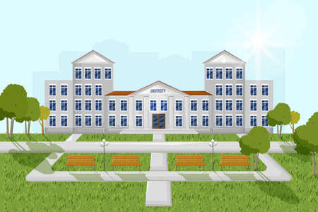 Architectural facade university Vector flat style. Summer day park outdoors illustration