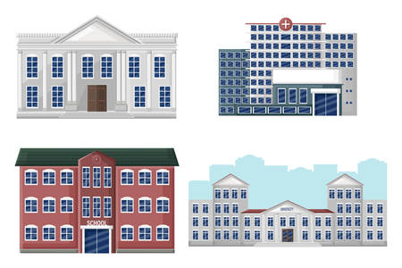Architectural facades set university, school, hospital and bank Standard-Bild - 128816565