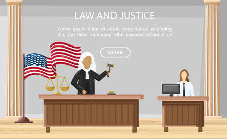 Judge justice court Vector flat style. Law orders brochure templates.