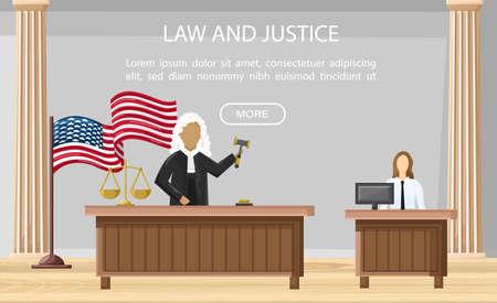 Judge justice court Vector flat style. Law orders brochure templates. Standard-Bild - 128816567